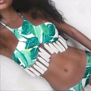 Hawaiian leaf floral bikini set tassel trim